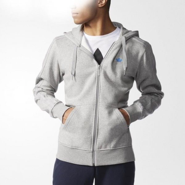 Adidas Originals Trefoil Classic Mens Full Zip Hooded Sweatshirt Grey