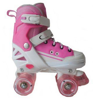 California Pro Kruz Children's Adjustable Kids Quad Roller Skates Girls White/Pink